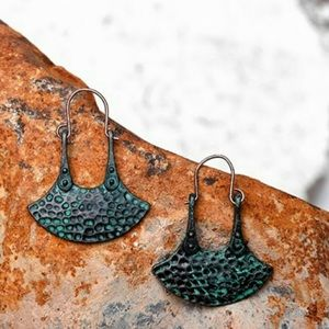Hammered Dangle Earrings w/Real Patina